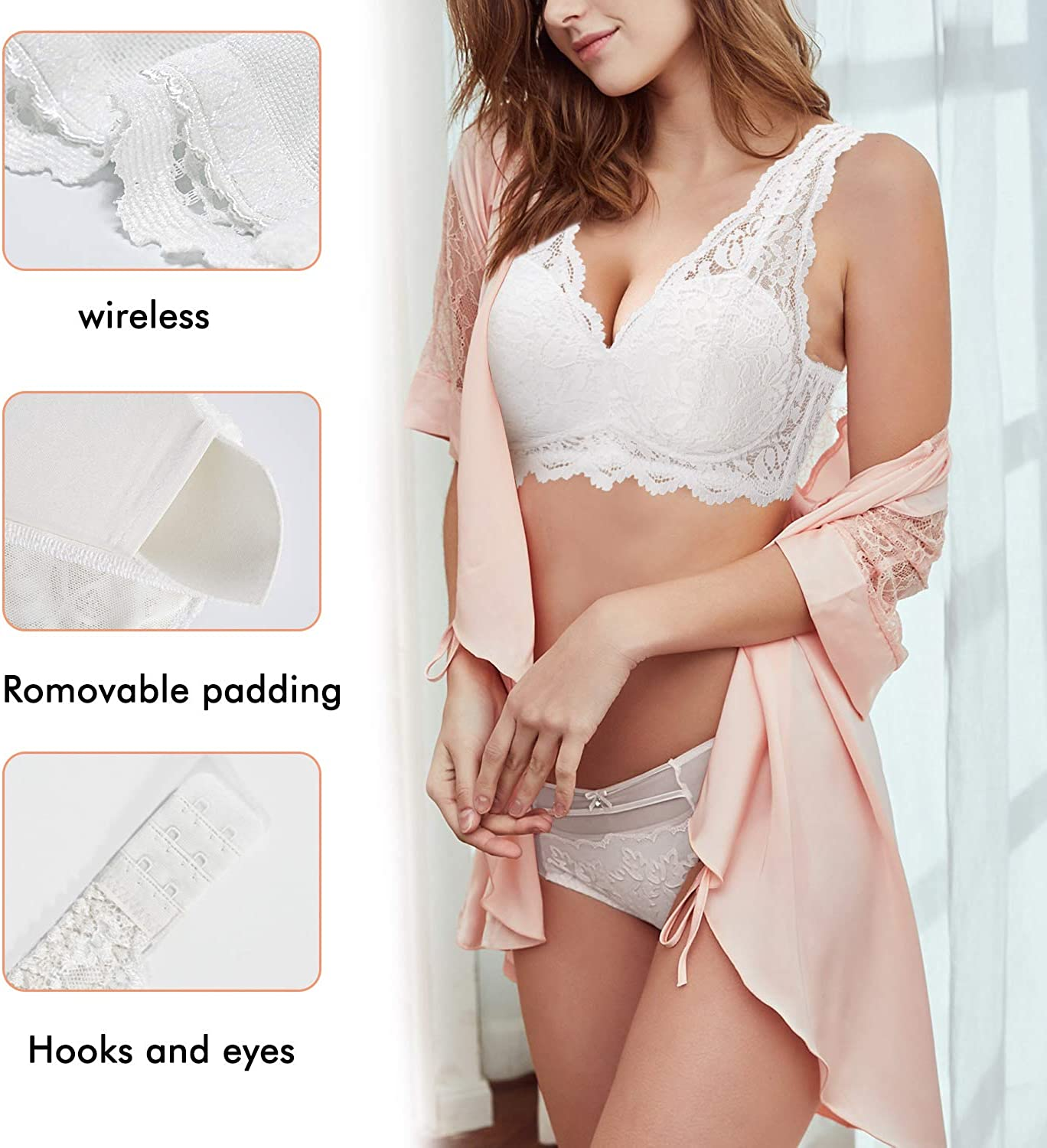 Rolewpy Women Lace Bralette Padded Deep V Neck Bra Wirefree Crop Tops with Adjustable Closure Plunge Lingerie Camisole