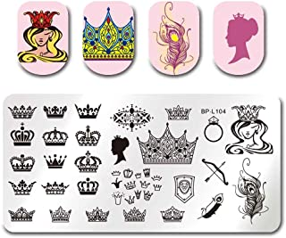 Cyril Rectangle Stencil Crown Queen Feather Makeup Manicure Nail Art Stamp Plate Pack of Two (3)