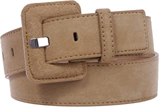 """1 1/2"""" Inch Stitching-Edged Suede Leather Belt"""