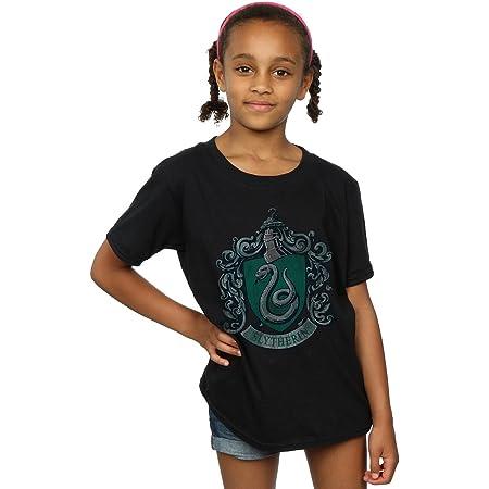 HARRY POTTER niñas Slytherin Distressed Crest Camiseta 12-13 Years Negro