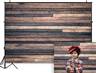 Funnytree 7X5FT Dark Wood Backdrops for Photography Wooden Wall Board Floor Background Banner for Birthday Baby Shower Party Photoshooting Picture Photo Studio Decoration