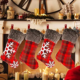 Yashell Christmas Stockings, 4 Pack 18'' Burlap with Large Plaid Snowflake and Plush Faux Fur Cuff for Christmas Decoration and Family Holiday Party Décor