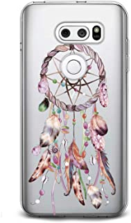 Cavka TPU Phone Case for LG G8 ThinkQ G7 Fit G6 V50 V40 V35 V30 Plus W30 Lightweight Clear Tribal Totem Design Print Phone Cute Theme Gift Pink Feather Catcher Flexible Slim fit Smooth Soft Dream