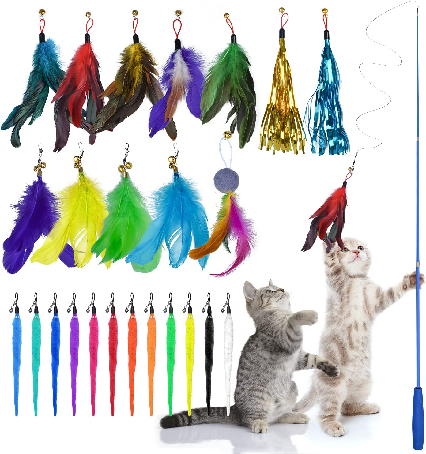 YOTESO Feather New product type Teaser Sales for sale Cat Retractable Wand Toys 25PCS