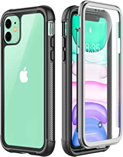 Eonfine iPhone 11 Case, Shockproof Full-Body Heavy Duty Protection with Built-in Screen Protector Rugged Armor Cover for iPhone 11 6.1 Inch 2019 Release(Black/Gray+Clear)