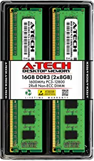 A-Tech 16GB (2x8GB) DDR3 1600MHz DIMM PC3-12800 UDIMM Non-ECC 2Rx8 Dual Rank 1. 5V CL11 240-Pin مكتب كمبيوتر ذاكرة وصول عش...