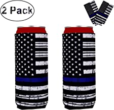 Thin Blue Line Flag Can Coolers 2-Pack, Blue Lives Matter Police Officer Gifts Beer Sleeves, Beer Can Insulator Covers Collapsible Can Wraps(American Flag)