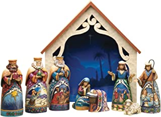 "Jim Shore for Enesco Jim Shore Heartwood Creek 9-Piece Mini Nativity Set Stone Resin Figurine, 9.75"", 4034382, 1.5"" H - 4...."