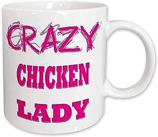 3dRose mug_174980_1 Crazy Chicken Lady Ceramic Mug, 11 oz, White