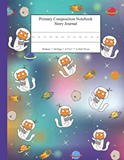 Primary Composition Notebook Story Journal: Educational Writing and Drawing Handwriting Activity Workbook (Space Kitty Cat Astronaut Blue Spine)