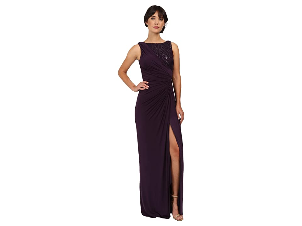 Adrianna Papell Draped Venecian Jersey Gown with Sequin Embroidered Lace (Aubergine) Women