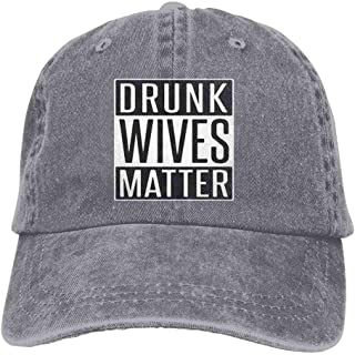 YINREN Drunk Wives Matter Novelty Unisex Washed Cap Adjustable Dad's Denim Stetson Hat Gray Hats