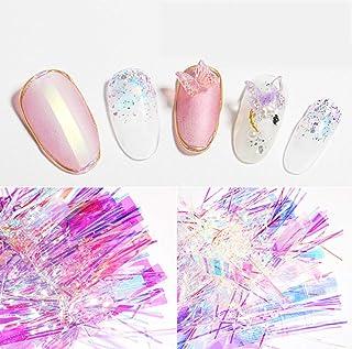 AKOAK 4 Pcs Manicure Aurora Cellophane Splinter Irregular Long Candy Paper Glittery Sequins Nail Art
