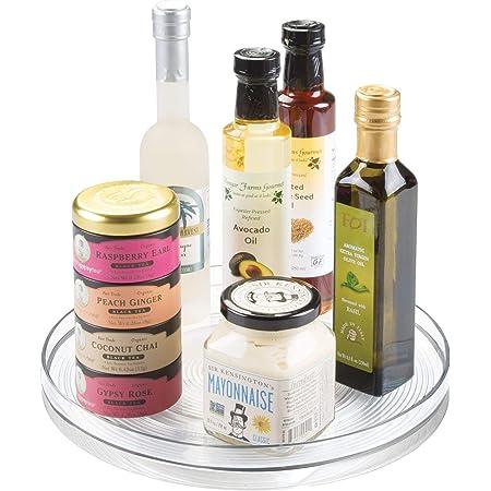 iDesign plateau tournant, grand plateau pivotant en plastique pour épices et ingrédients de cuisine, socle tournant pour le placard, transparent