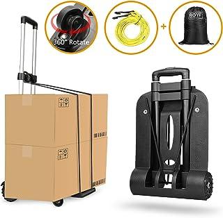 Carretilla plegable Wilbest, Carritos porta equipajes con 4 ruedas Carga máxima 75 kg/165 lbs - Después de plegar se puede poner en la mochila - Negro