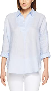 French Connection Women's Linen Popover, Light Blue