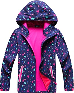 Girls Boys Hooded Softshell Pattern Windproof Active Jackets with Composite Mesh