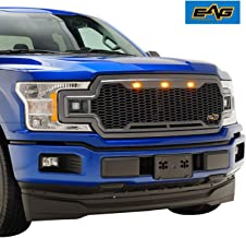 EAG Replacement Upper Grille ABS Front Mesh Grill Fit for 18-19 Ford F150 - Charcoal Gray - with Three Amber LED Lights and Two 12W Square LED Lights