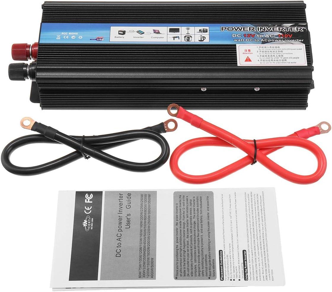 Size : DC 24V to AC 220V CHGDFQ Voiture onduleur 12V 24V 220V 5000W PE AK onduleur de Voiture Transformateur de Tension 12V /à 220V Solaire Inversor Noir Style
