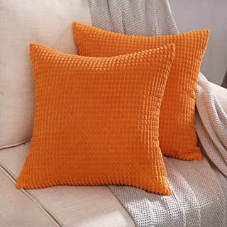 MIULEE Pack of 2 Decorative Throw Pillow Covers Soft Corduroy Solid Cushion Case Glow Orange Pillow Cases for Couch Sofa Bedroom Car 20 x 20 Inch 50 x 50 cm