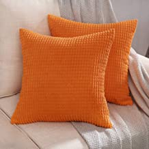 MIULEE Pack of 2 Decorative Throw Pillow Covers Soft Corduroy Solid Cushion Case Glow Orange Pillow Cases for Couch Sofa Bedroom Car 18 x 18 Inch 45 x 45 cm