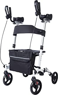BEYOUR WALKER Upright Rollator Walker Euro Style Stand Up Walking Aid White