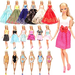 Barwa 10 Fashion Clothes Dresses + 3 Swimsuits + 3 Wedding Dresses for Barbie Doll Clothes