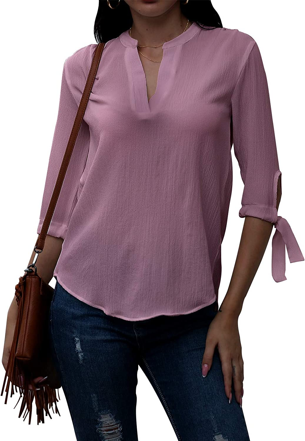 Womens V Neck Three-Quarter Sleeves Blouse Formal Work Casual Shirt Womens Top