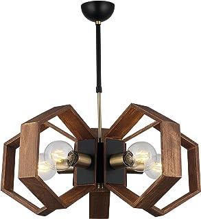 Homemania Lámpara de techo, metal, dorado, negro, madera