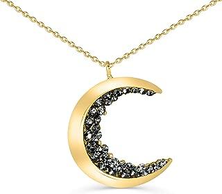 Black Cz Gypsy Planet Half Crescent Sailor Luna Moon Pendant Charm Chain Necklace