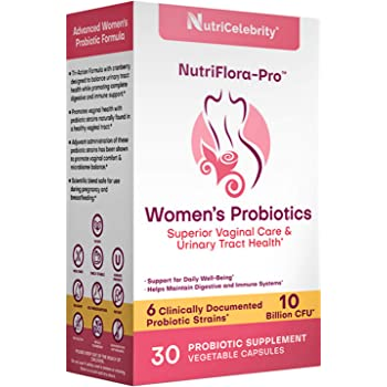 NutriFlora-Pro Probiotics for Women - Supports Vaginal & Urinary Health, Immune System & Digestive Support, Cranberry Pills Supplement, 10 Billion CFU Guaranteed, 6 Strains (30 Caps)
