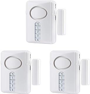 GE Deluxe Wireless Door, 3-Pack, 120 Decibel, Alarm or Entry Chime, Indoor Personal Security, with Keypad Activation, 4599...