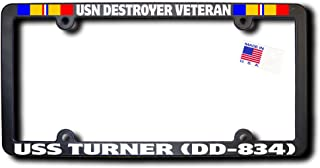USN Destroyer Veteran USS TURNER (DD-834) License Frame w/REFLECTIVE TEXT and Combat Action Ribbons