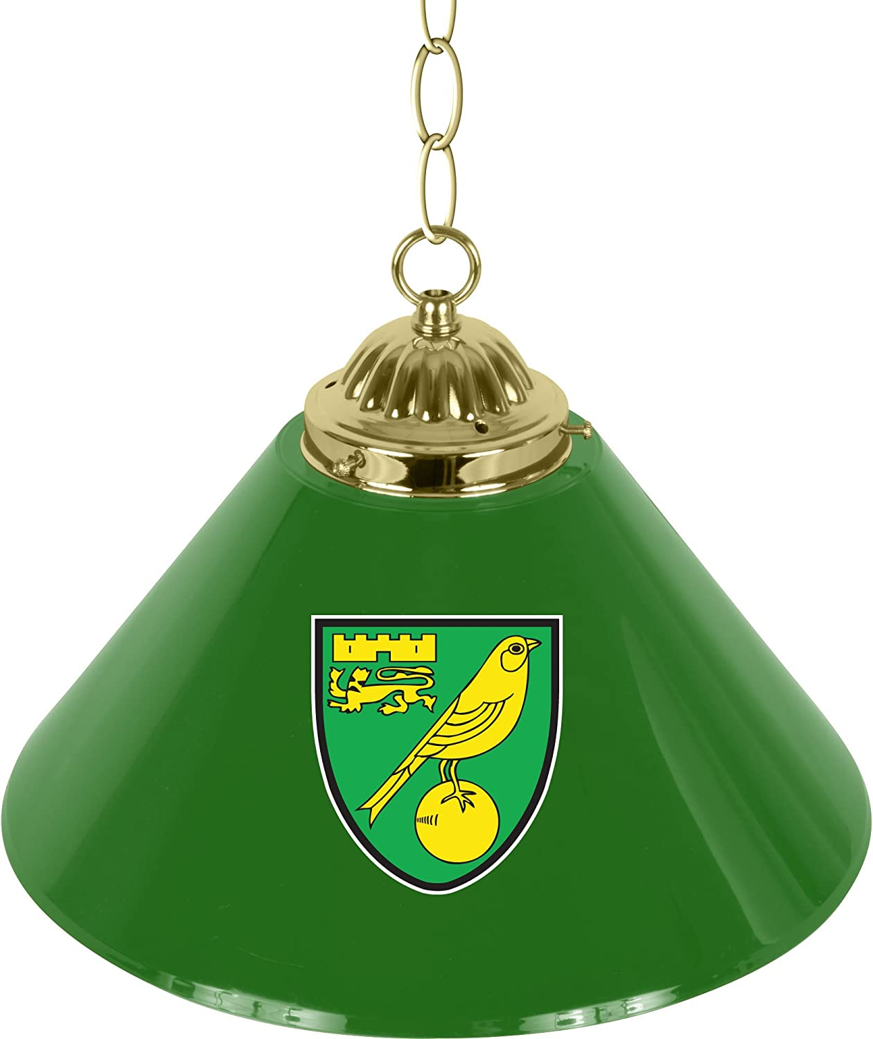 Trademark Gameroom Premier League Norwich City Single Shade Brass Bar Lamp