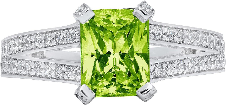 Clara Pucci 2.8 ct Emerald Cut Solitaire Accent split shank Stunning Genuine Flawless Natural Green Peridot Gem Designer Modern Statement Ring Solid 18K White Gold