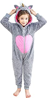 d0983ca941 Anna King Kids Animal One-Piece Pajamas Costume Hooded Cosplay Onesies  Plush Sleepwear for Girls