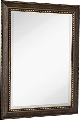 Amazon Com New Large Embellished Transitional Rectangle Wall Mirror Luxury Designer Accented Frame Solid Beveled Glass Made In Usa Vanity Bedroom Or Bathroom Hangs Horizontal Or Vertical 30 X