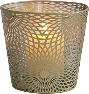 Joveco Metal Grid Bucket Style Modern Fashion Sconce Candle Holder Stand (Gold)