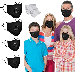 Luckylin 4 Packs Family Cover Sets Face Bandanas with 8 Replaceable Filters, Washable Reusable Mouth Cover Balaclavas with Breathing Valves, Anti Dust Protection Health for Adults Kids