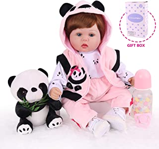 Lifelike Reborn Baby Dolls, 18 inches Realistic Newborn Baby Girl ,Soft Vinyl Weighted Silicone Toddler Dolls, Panda Toy Gift Set for Age 3+