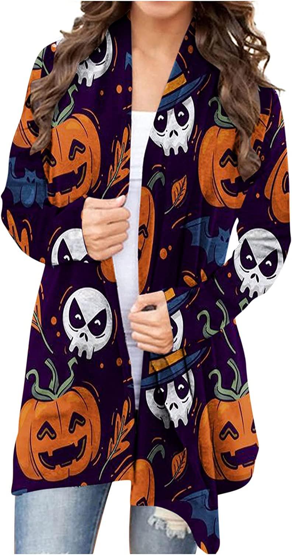 Womens T Shirts Loose Fit Fashion Women Halloween Animal Cat Pumpkin Print Cardigan Autumn Coat Blouse