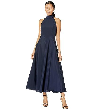 Tahari by ASL Sleeveless Charmeuse Maxi Halter Dress (Navy) Women