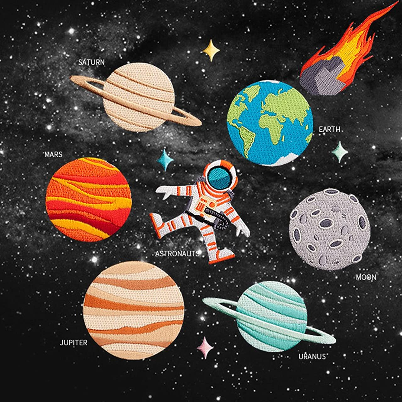 Joylish 12 Set Space Planet Iron on Patches, Embroidery Astronaut Pacth Badges for DIY Clothing Jeans Backpack Jackets - Space, Planets and Astronaut