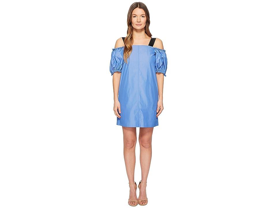 Sportmax Cina Cold Shoulder Puff Short Sleeve Dress (Light Blue) Women