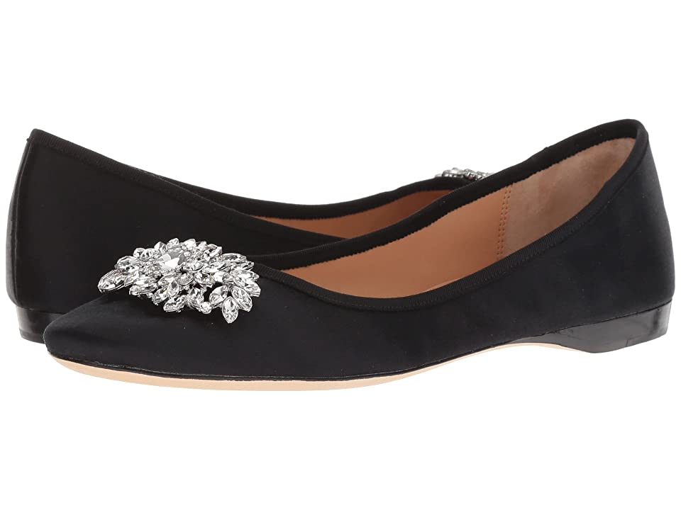 History of Victorian Boots & Shoes for Women Badgley Mischka Pippa Black Satin Womens Flat Shoes $185.00 AT vintagedancer.com