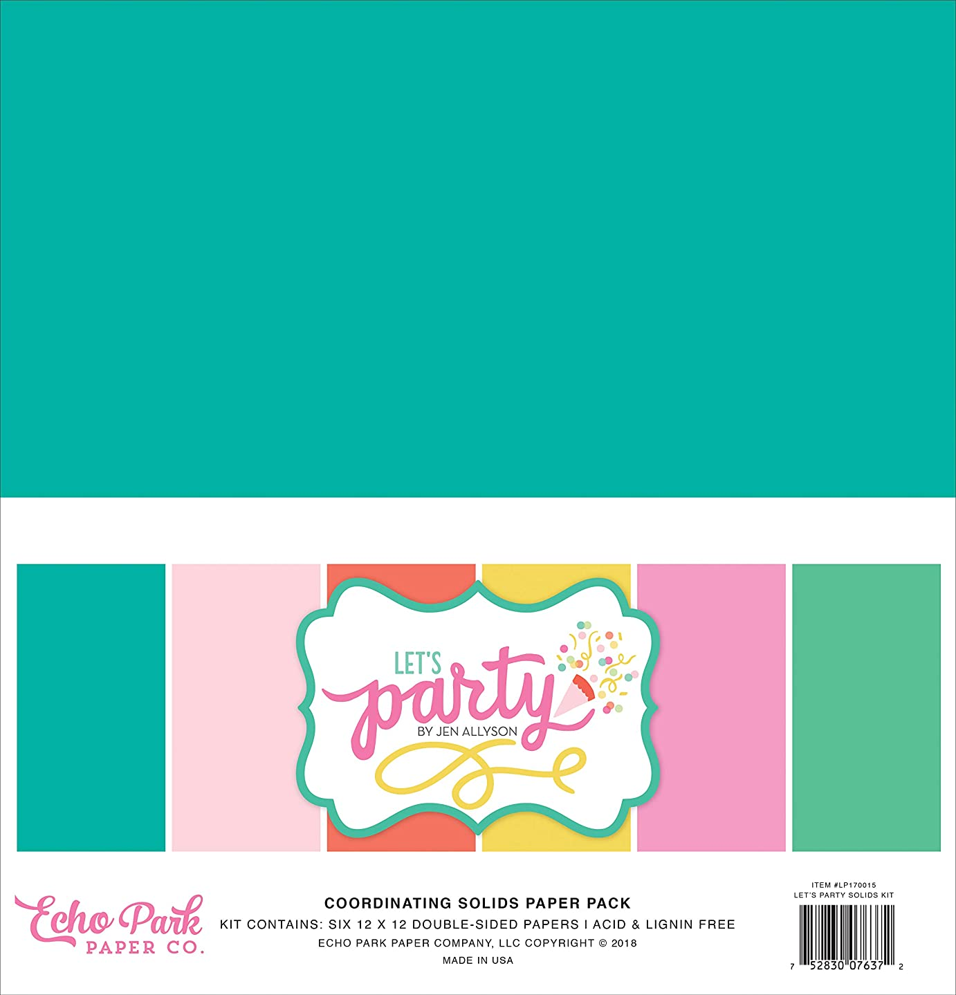 Echo Park Paper Company LP170015 Let's Party Solids Kit Paper, Teal, Pink, Green, Yellow