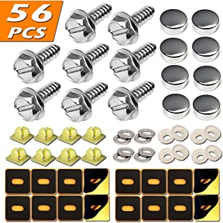 BGGTMO Stainless Steel License Plate Screws - Rust Resistant Stainless Steel Screws, 8 PCS M6X20mm Self-Tapping License Plate Bolts Fasteners for Securing License Plates and Frames, Chrome Screw Caps