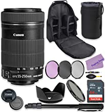 Canon EF-S 55-250mm f/4-5.6 is STM Lens Bundle with Premium Accessories Including 64GB Sandisk Memory, ND Variable Filter,...