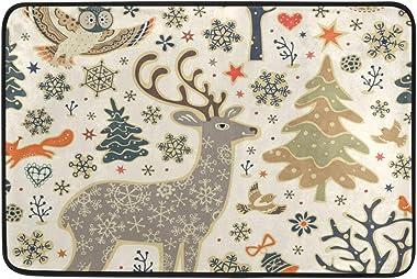 Mydaily Owl Deer Snowflakes Christmas Doormat 15.7 x 23.6 inch, Living Room Bedroom Kitchen Bathroom Decorative Lightweight F
