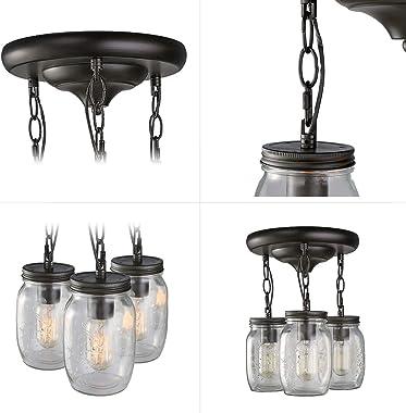 "Semi Flush Mount Ceiling Light, Farmhouse Mason Jar Lights for Kitchen, Dining Room & Hallway, Oil Rubbed Bronze(L11.8"" × W11"